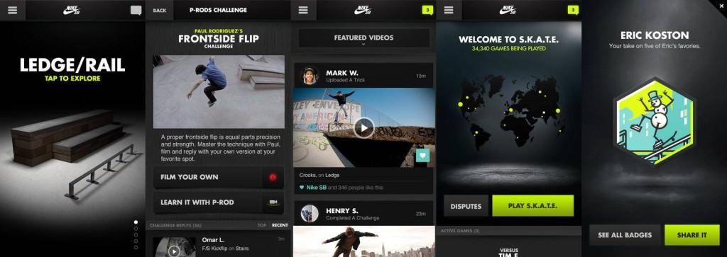 מסכים מתוך Nike SB, אפליקצית הסקייטבורד של נייק