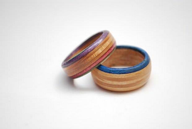 מתנה טבעת מסקייטבורד ממוחזר